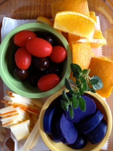 Purple Sweet Potato, Oranges, Hot House Grape Tomatoes and Olives