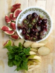 Burgundy Muscadines, Figs, Pears and Orange Mint